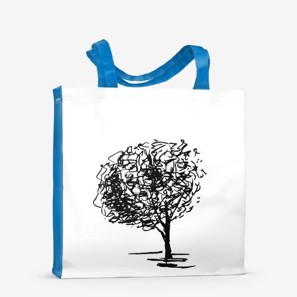 Сумка-шоппер «Дерево , чёрно-белый скетч»