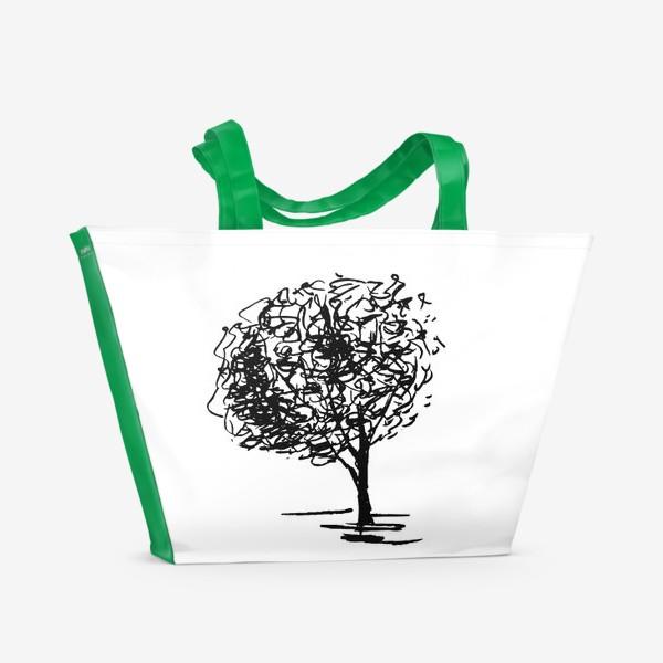 Пляжная сумка «Дерево , чёрно-белый скетч»