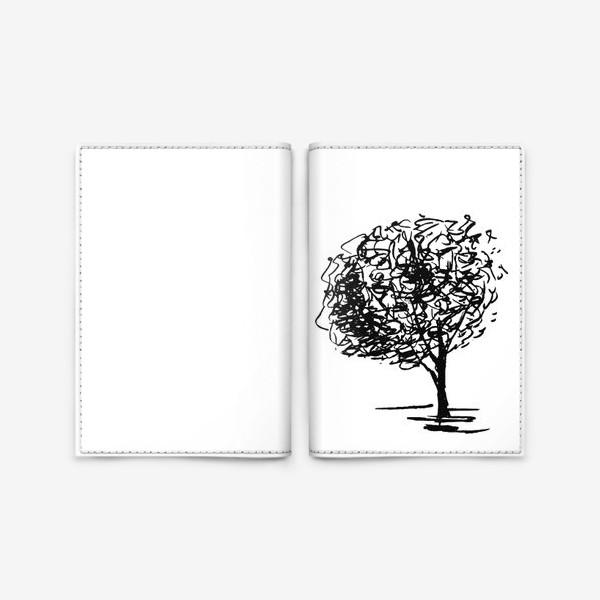 Обложка для паспорта «Дерево , чёрно-белый скетч»
