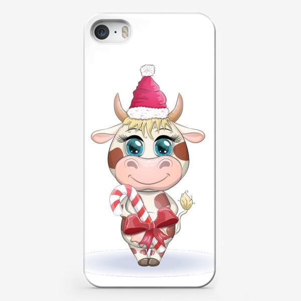 Чехол iPhone «Бык, символ 2021 года, корова с кенди-кейн и в шапке Санта-Клауса»