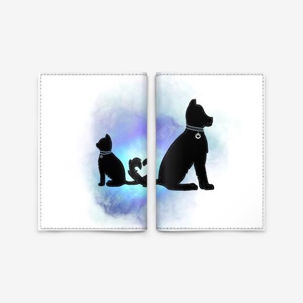 Обложка для паспорта «Собака и кот »