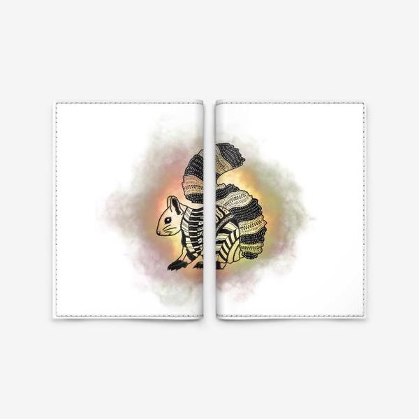 Обложка для паспорта «Белка с узорами»