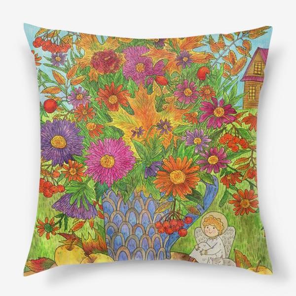 Подушка «Букет осенних листьев, цветов и ягод и маленький добрый ангел»