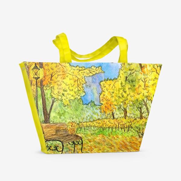 Пляжная сумка «Осенний пейзаж в парке»