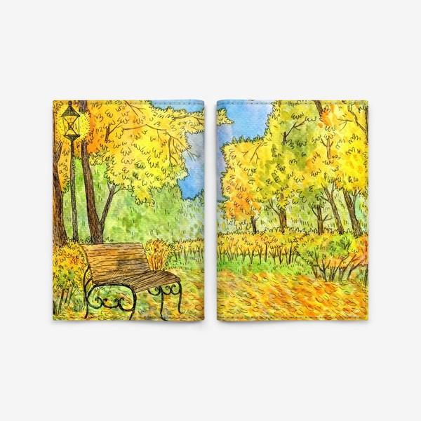 Обложка для паспорта «Осенний пейзаж в парке»