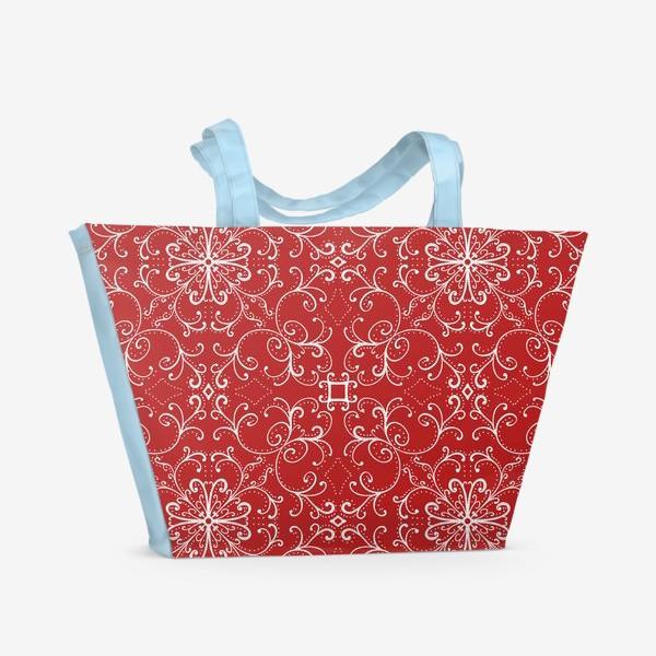 Пляжная сумка «Новогодний узор.паттерн »