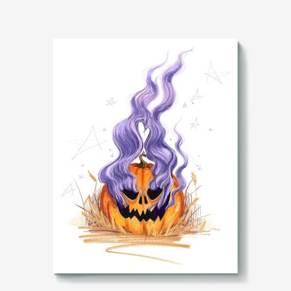 Холст «Halloween lantern тыква и фиолетовый дым»