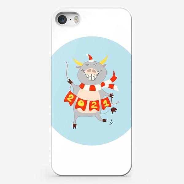 Чехол iPhone «Бык с цифрами 2021 Рождественский бык с гирляндой Смешной новогодний персонаж»