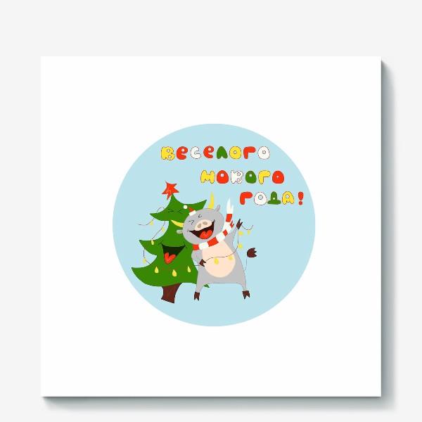 Холст «Бык с елкой Рождественский бык с гирляндой Смешной новогодний персонаж»