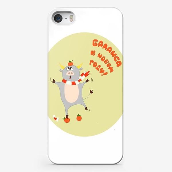 Чехол iPhone «Бык с мандаринами Рождественский бык Смешной новогодний персонаж»