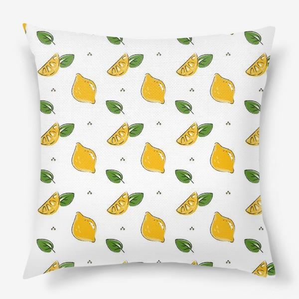Подушка «Сочные желтые лимоны с листиками»