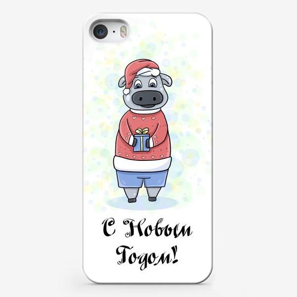Чехол iPhone «Бычок с подарком»