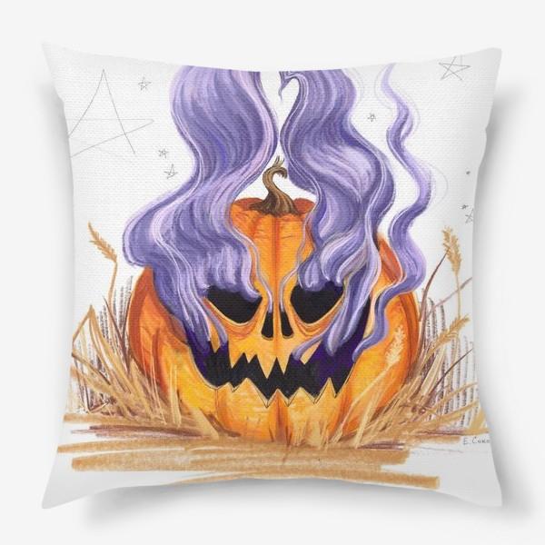 Подушка «Halloween lantern тыква и фиолетовый дым»