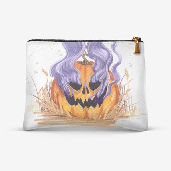 Косметичка «Halloween lantern тыква и фиолетовый дым»