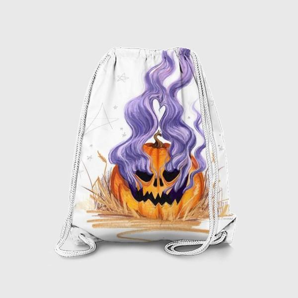 Рюкзак «Halloween lantern тыква и фиолетовый дым»