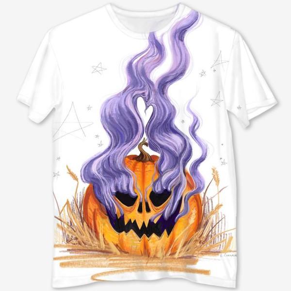 Футболка с полной запечаткой «Halloween lantern тыква и фиолетовый дым»