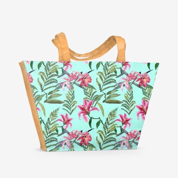 Пляжная сумка «Лилия и папоротник»