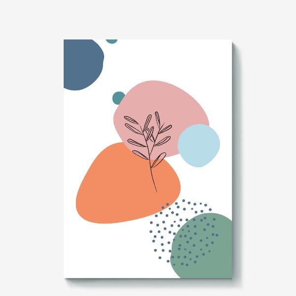 Холст «Графические фигуры и растение»