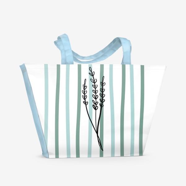 Пляжная сумка «Растение и линии2»