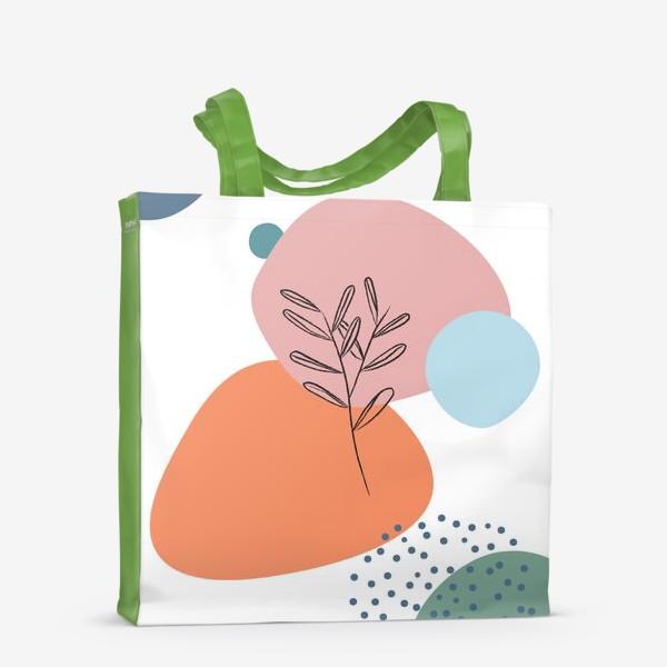 Сумка-шоппер «Графические фигуры и растение»