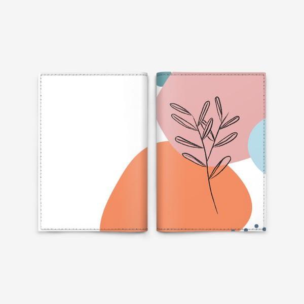 Обложка для паспорта «Графические фигуры и растение»