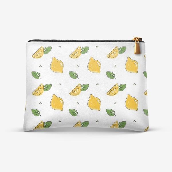 Косметичка «Сочные желтые лимоны с листиками»