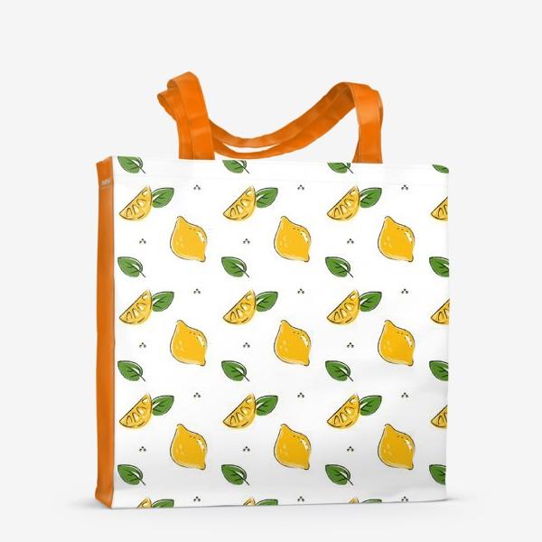 Сумка-шоппер «Сочные желтые лимоны с листиками»