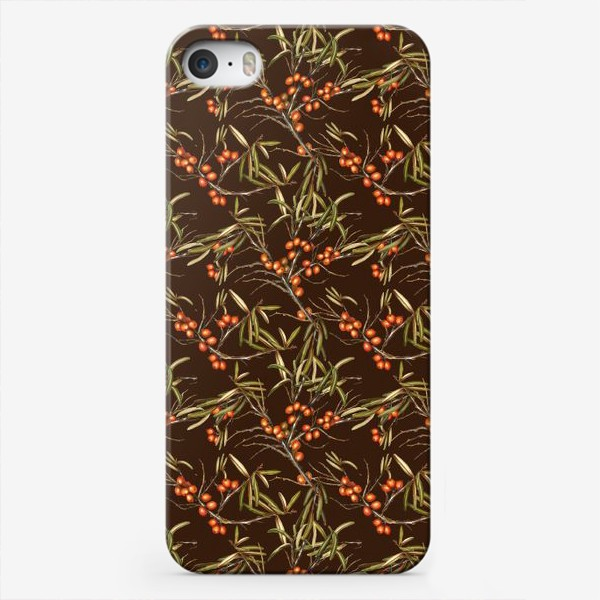 Чехол iPhone «Паттерн облепиха на коричневом»