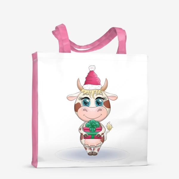 Сумка-шоппер «Бык, символ 2021 года, корова с подарком и в шапке Санта-Клауса»