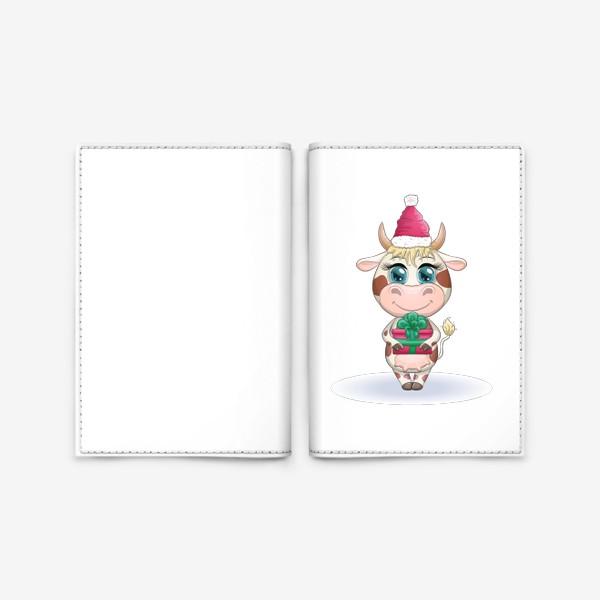 Обложка для паспорта «Бык, символ 2021 года, корова с подарком и в шапке Санта-Клауса»