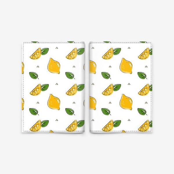 Обложка для паспорта «Сочные желтые лимоны с листиками»