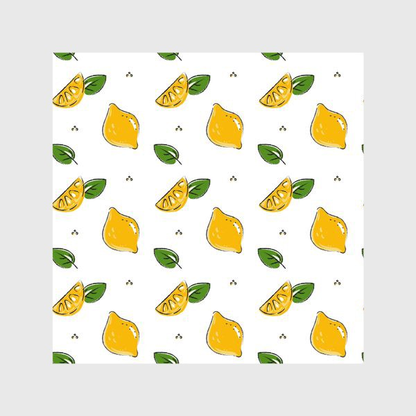 Шторы «Сочные желтые лимоны с листиками»