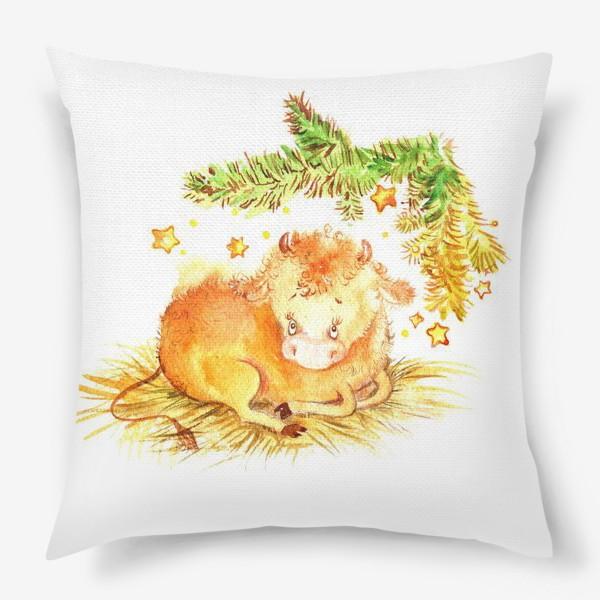 Подушка «Бычок под елкой»