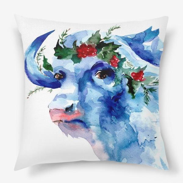 Подушка «Морозный бык. Символ 2021 года»