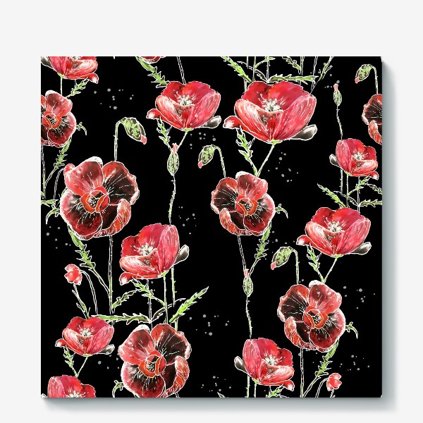 Холст «Красные маки, цветы на темном фоне»