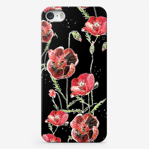 Чехол iPhone «Красные маки, цветы на темном фоне»