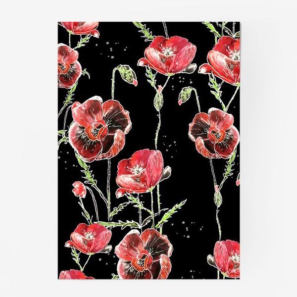 Постер «Красные маки, цветы на темном фоне»