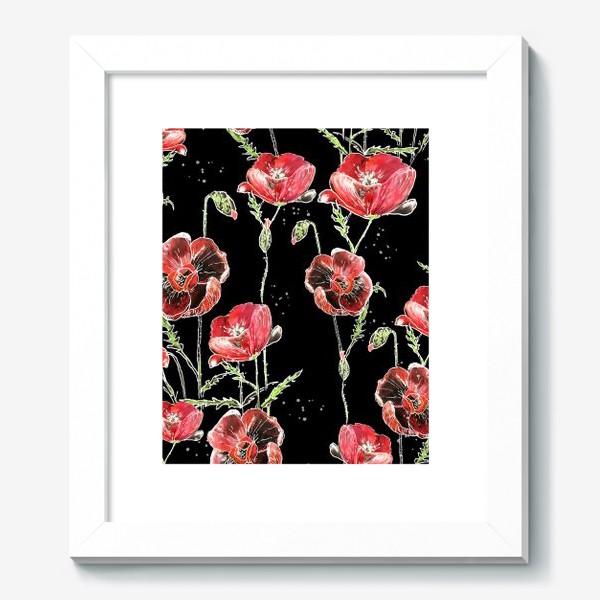 Картина «Красные маки, цветы на темном фоне»