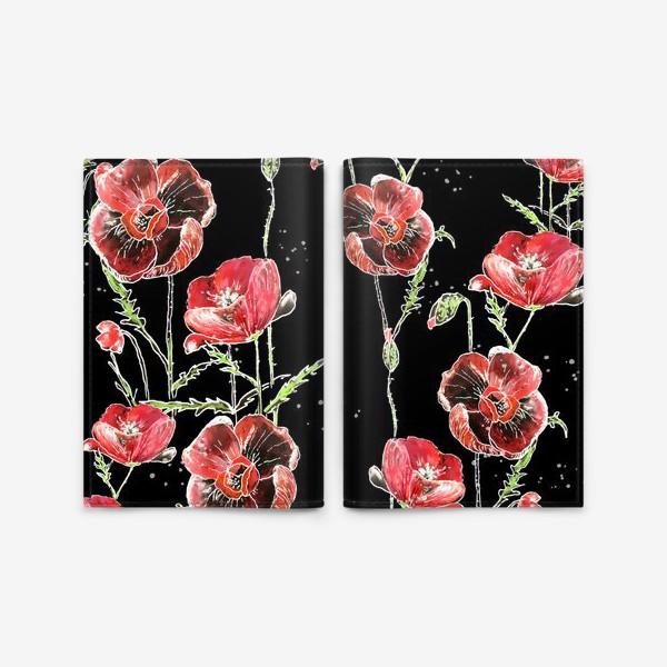 Обложка для паспорта «Красные маки, цветы на темном фоне»