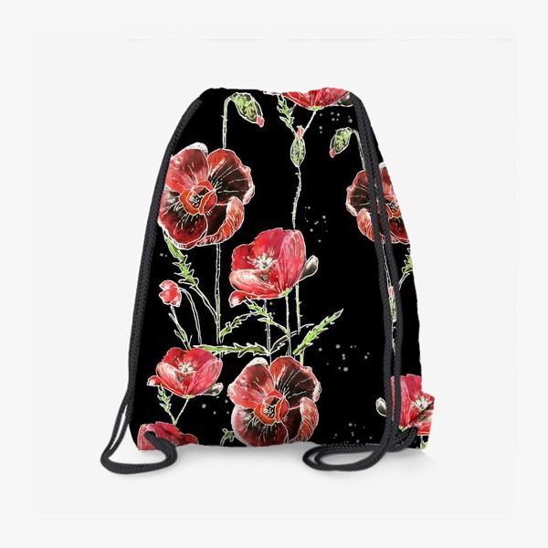 Рюкзак «Красные маки, цветы на темном фоне»