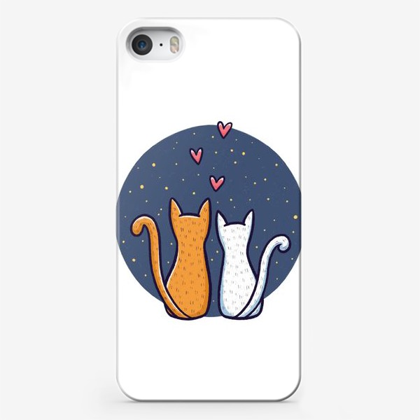 Чехол iPhone «Влюбленные коты с сердечками на фоне космоса»