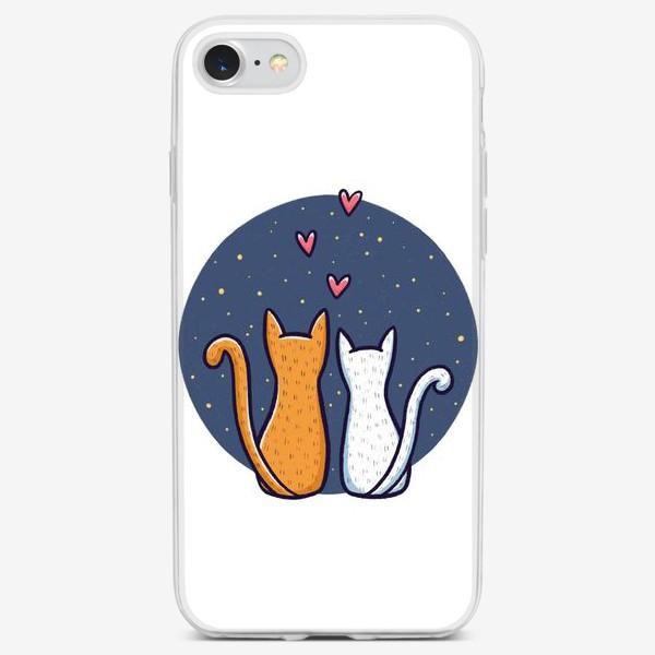 Чехол iPhone «Влюбленные коты с сердечками на фоне космоса (на белом фоне)»