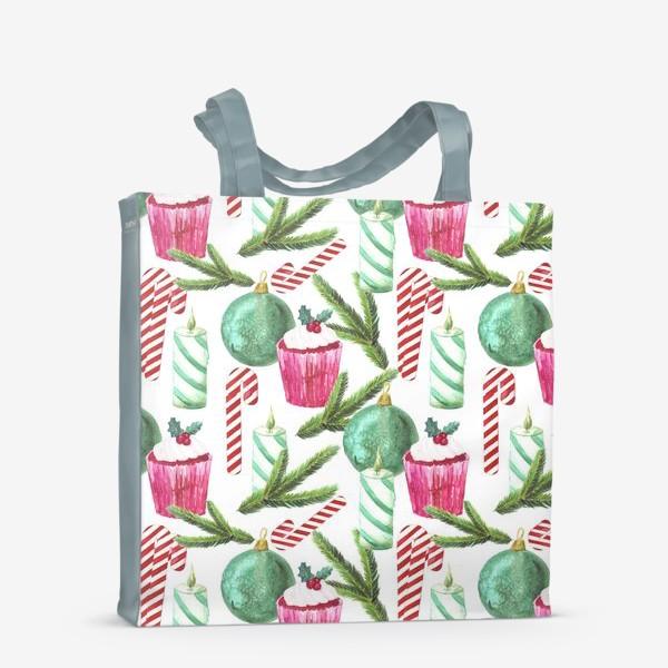 Сумка-шоппер «Новый год. Зима. Панкейк. Свеча. Еловая ветвь. Стеклянный шар. Сахарная трость. Паттерн»