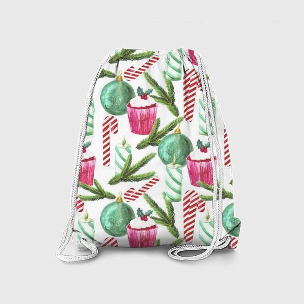 Рюкзак «Новый год. Зима. Панкейк. Свеча. Еловая ветвь. Стеклянный шар. Сахарная трость. Паттерн»