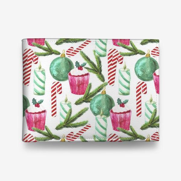 Кошелек «Новый год. Зима. Панкейк. Свеча. Еловая ветвь. Стеклянный шар. Сахарная трость. Паттерн»