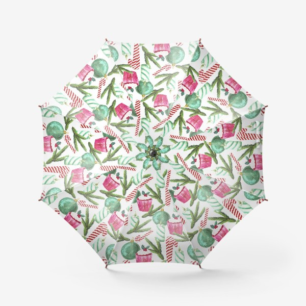 Зонт «Новый год. Зима. Панкейк. Свеча. Еловая ветвь. Стеклянный шар. Сахарная трость. Паттерн»