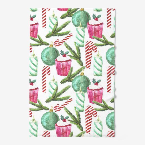 Полотенце «Новый год. Зима. Панкейк. Свеча. Еловая ветвь. Стеклянный шар. Сахарная трость. Паттерн»