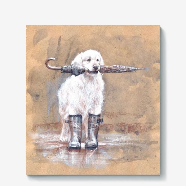Холст «Товарищ лабрадор, белый, собака, иллюстрация»