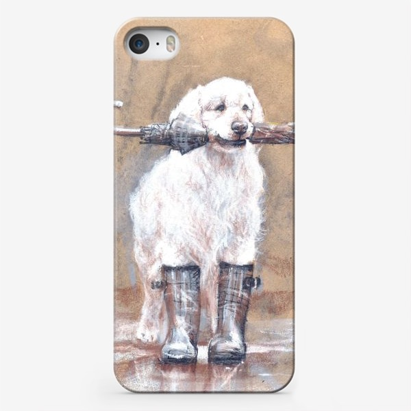 Чехол iPhone «Товарищ лабрадор, белый, собака, иллюстрация»