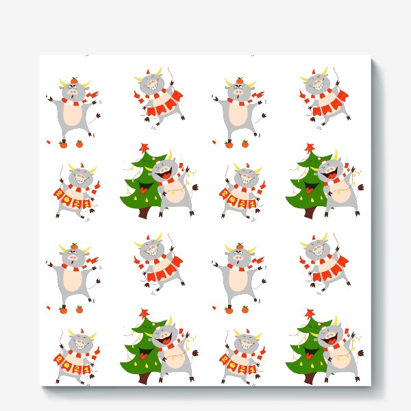 Холст «Новогодние быки 2021 Узор на новый год быка Рождество мандарины елка»